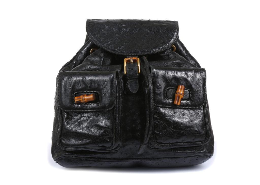 Gucci Black Ostrich Leather Backpack designer handbags