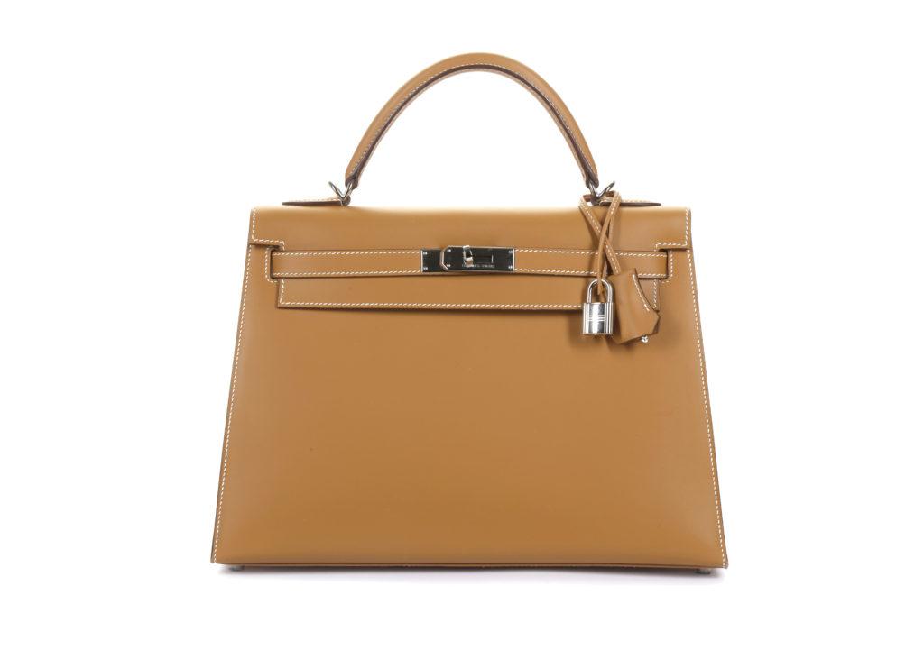 Hermes Gold Barenia Kelly 32 Sellier designer handbags