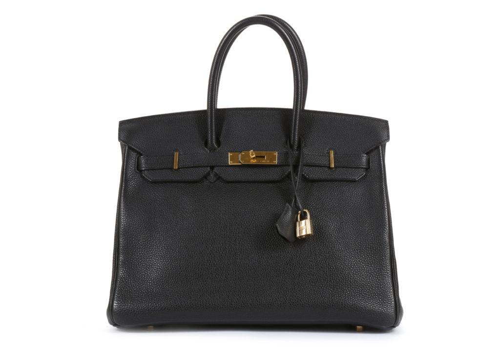 Hermes Black Ardennes Birkin 35 designer handbags