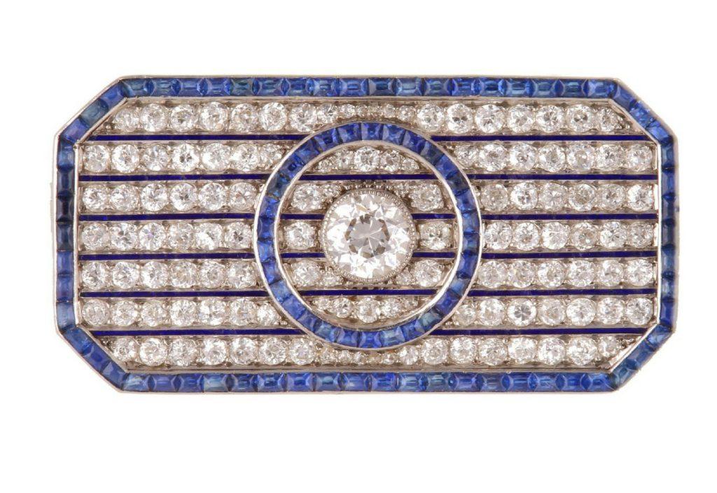 Art Deco sapphire, enamel diamond brooch
