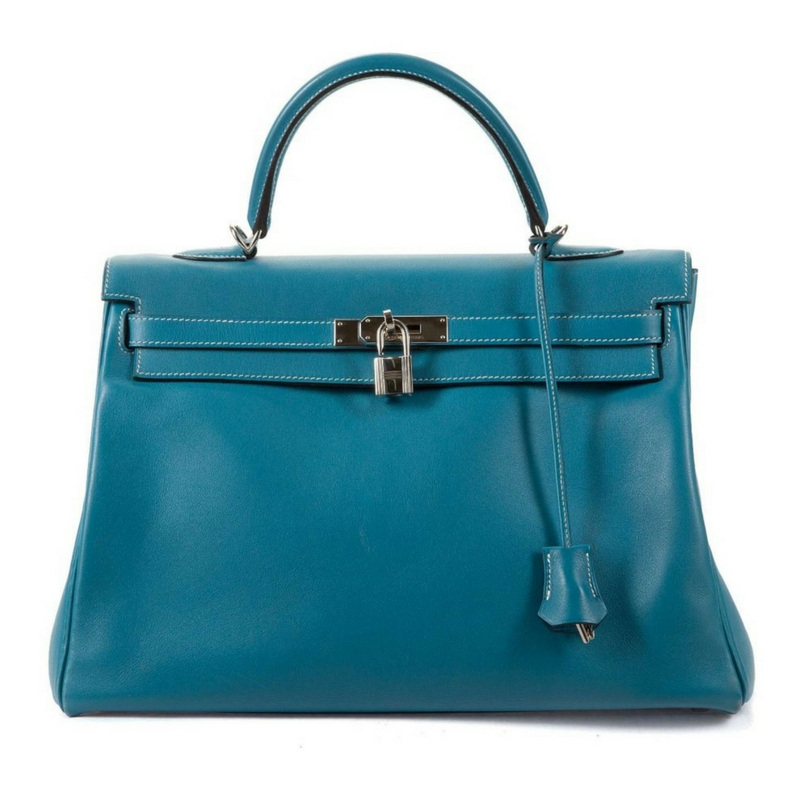 Hermes Blue Jean Swift Kelly Retourne leather handbag