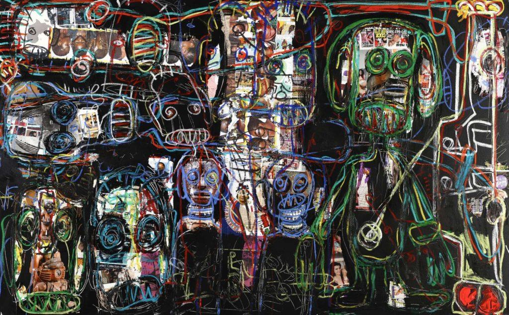 Acrylic mixed media canvas aboudia