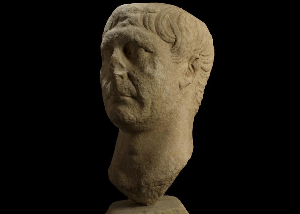 Emperor Trajan marble head portrait