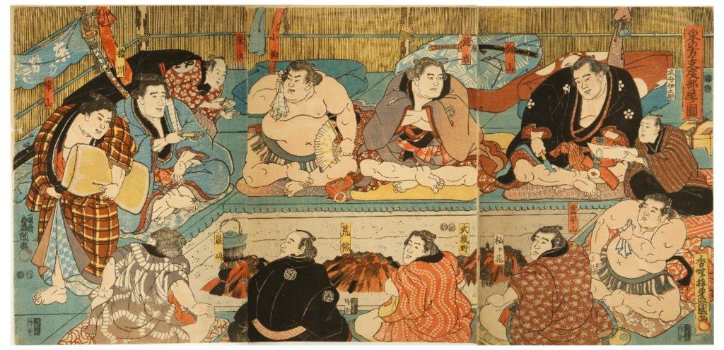 Japanese sumo print wood block Kunisada