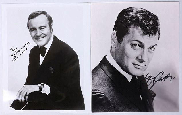 Photograph autograph Jack Lemmon Tony Curtis Golden Age Hollywood Roy Saward