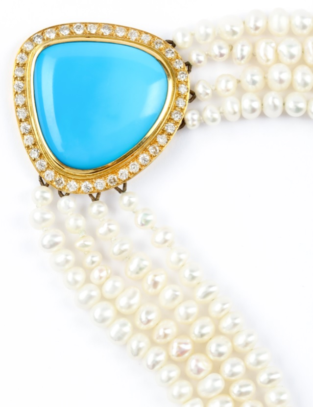 A multi-strand cultured pearl, turquoise diamond necklace