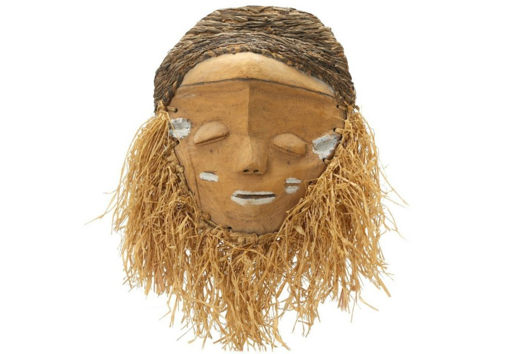 african fringed dance mask