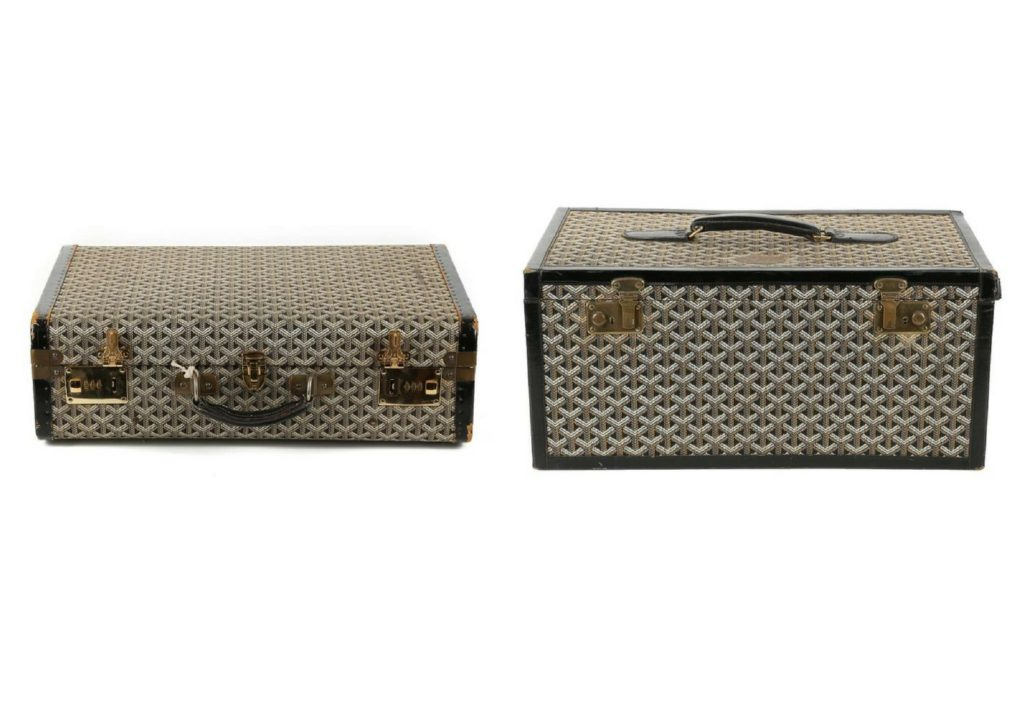 Goyard luggage, hard sided, black fabric with black leather trim