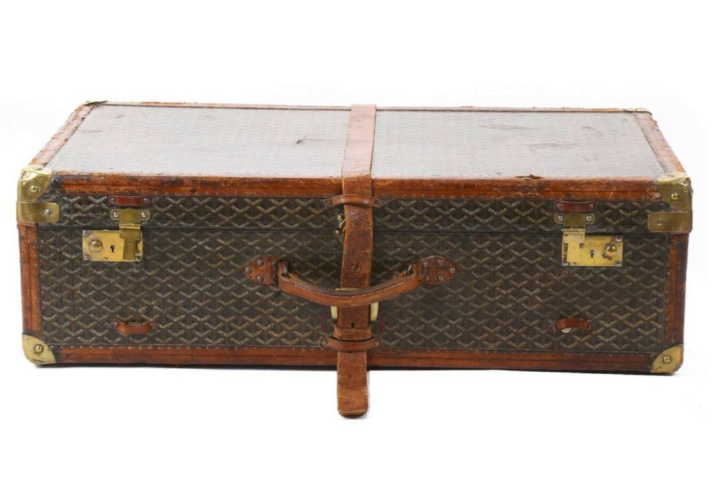 painted canvas Goyard steamer trunk