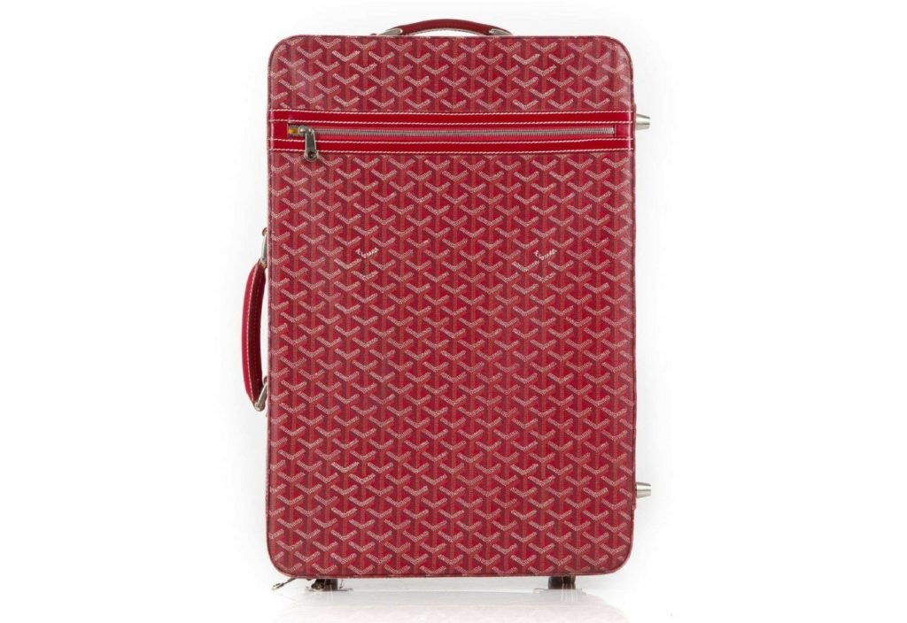 Goyard red canvas Rolling Trolley