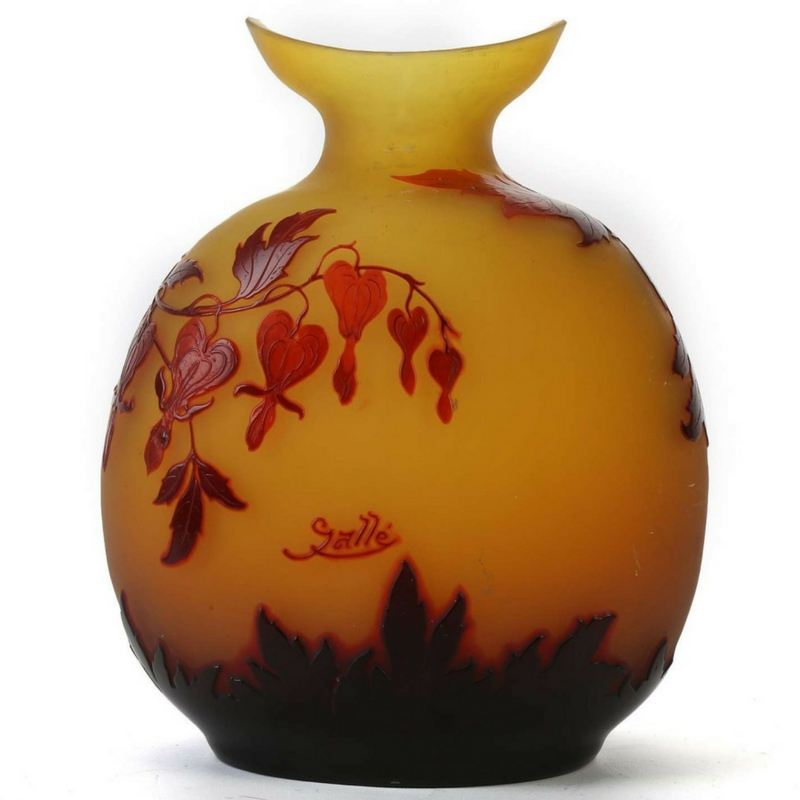 Gallé glass. Large cameo glass vase