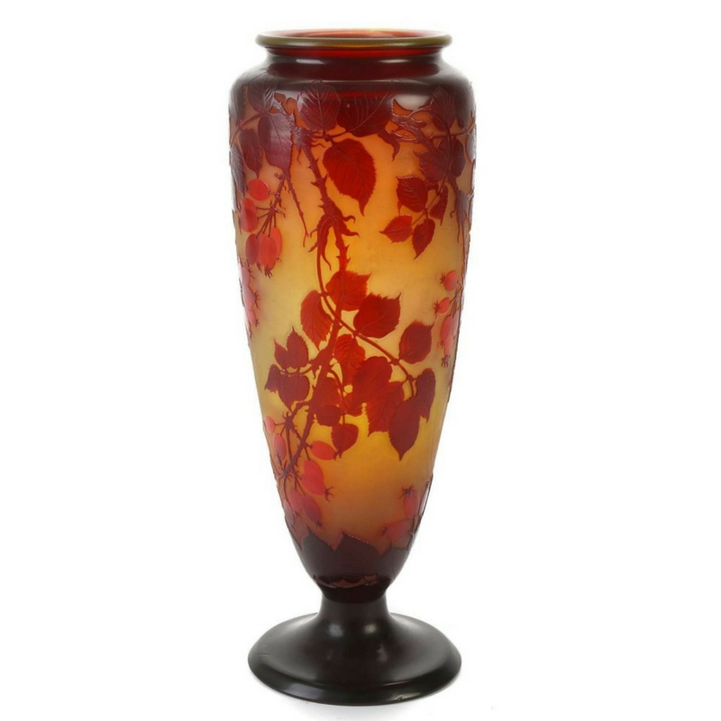 Gallé glass cameo vase