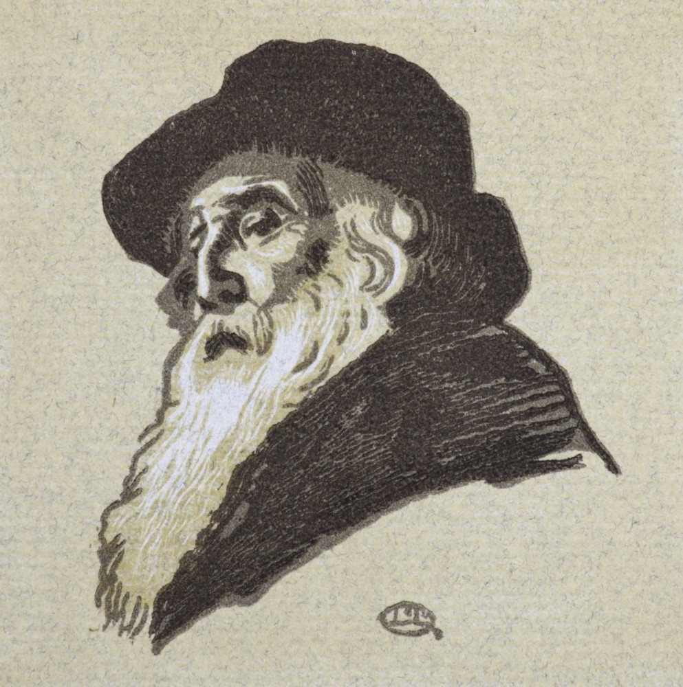 Lucien Pissarro, Portrait of Camille Pissarro, Monogrammed within the image wood engraving in colour,on laid grey paper