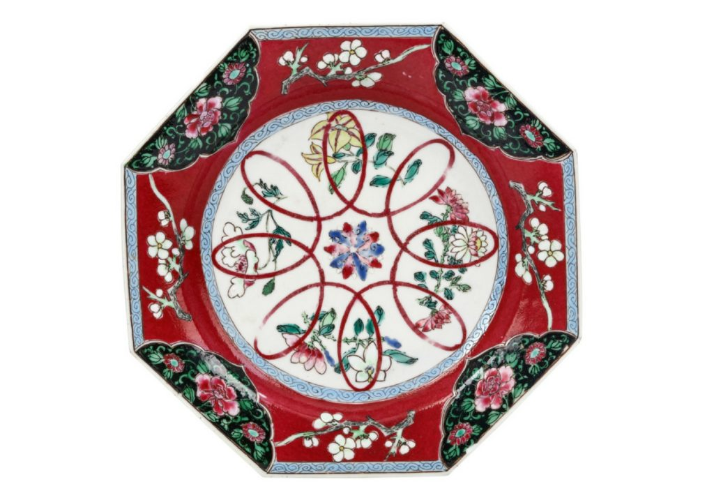 Chinese Octagonal Ruby Ground Dish