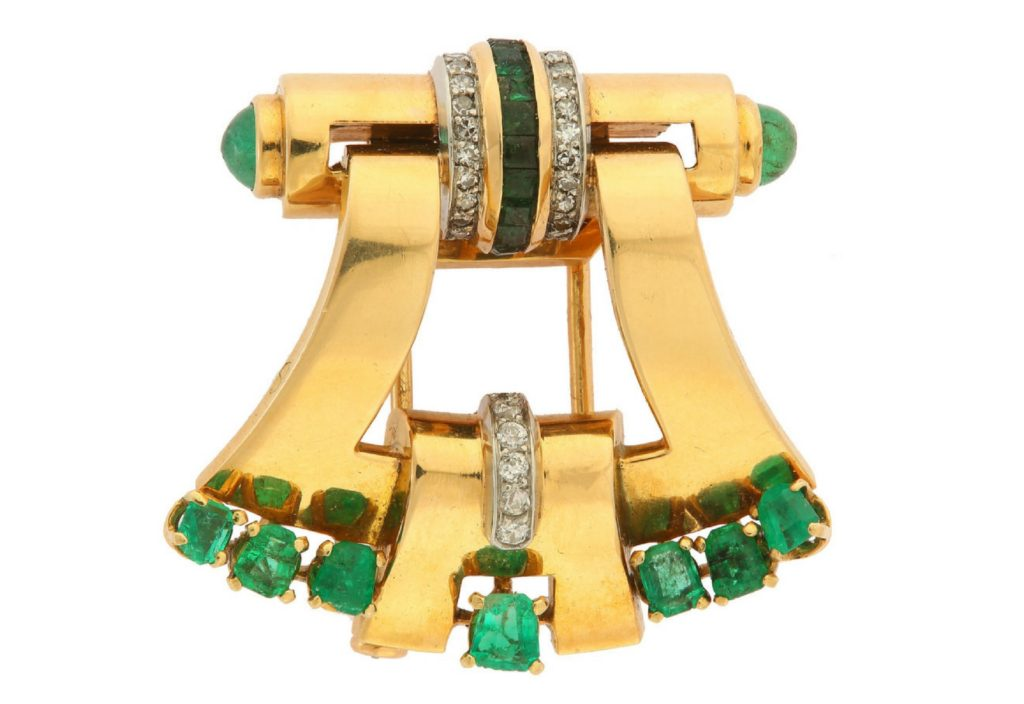 emerald diamond brooch