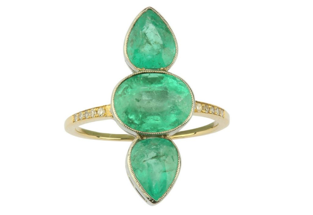 emeralds three-stone ring