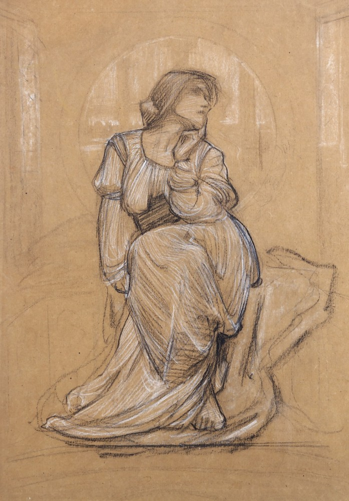 Harold Speed, The Lady of Shalott, black chalk heightened with white chalk on buff paper