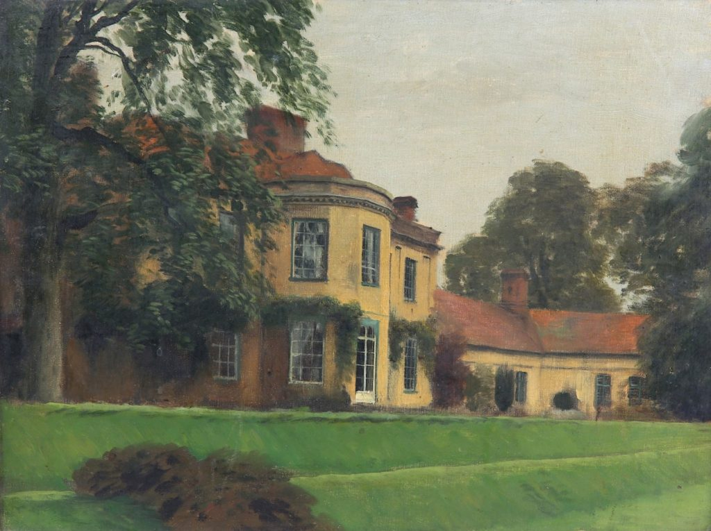 Rex Whistler (1905-1944) Binderton House, West Sussex, 1944 oil on Rowney canvas board. 30.4cm x 40.3cm.