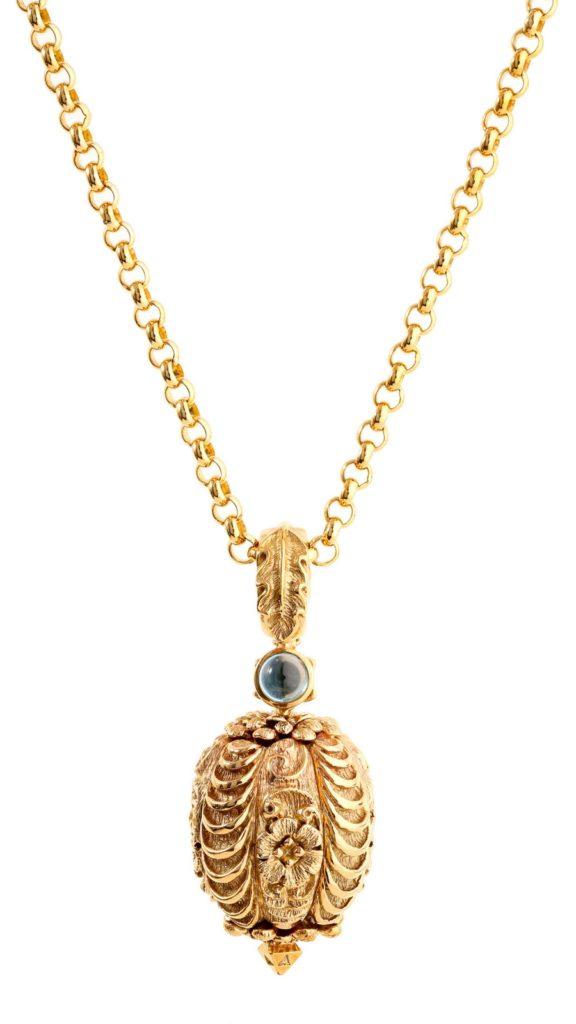 gold blue topaz pendant necklace Cassandra Goad