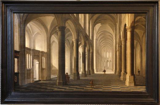 Dirck van Delen (Heusden, near s'Hertogenbosch 1604/5-1671 Arnemuiden)  The interior of a Gothic church with elegant figures, a hound in the foreground £40,000 - £60,000