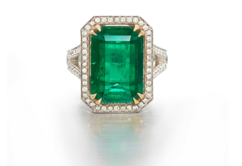 6.36 carat Colombian emerald diamond ring