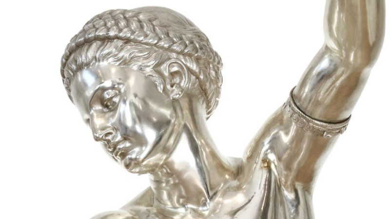 Life-size bronze & elaborate Neo-Grec oil
