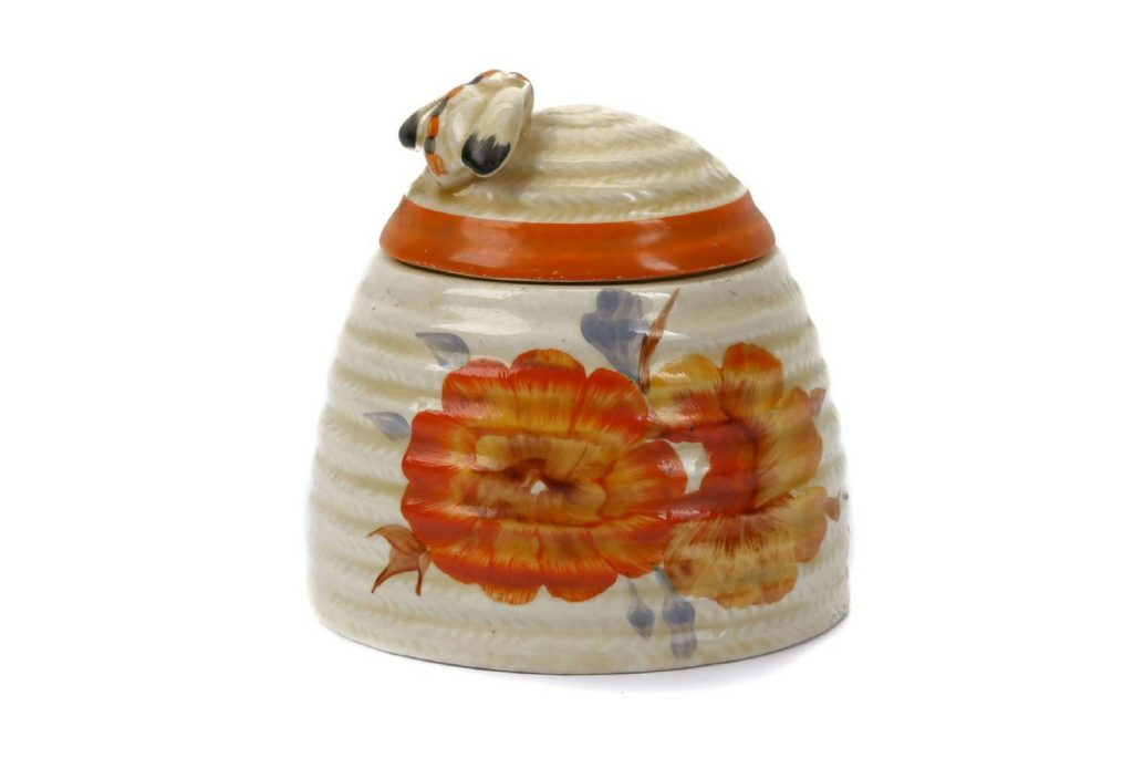Clarice Cliff Nasturtium Pattern Beehive honey pot