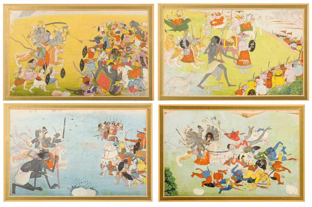 Four illustrations from a Devi Mahatmya series
