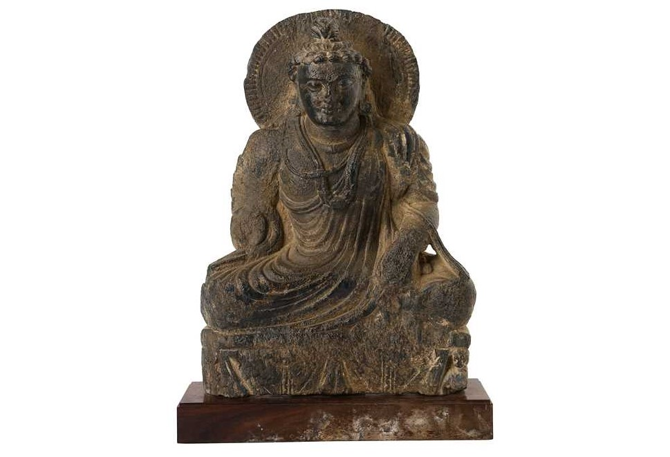 lot 155, A Carved Grey Schist Seated Buddha