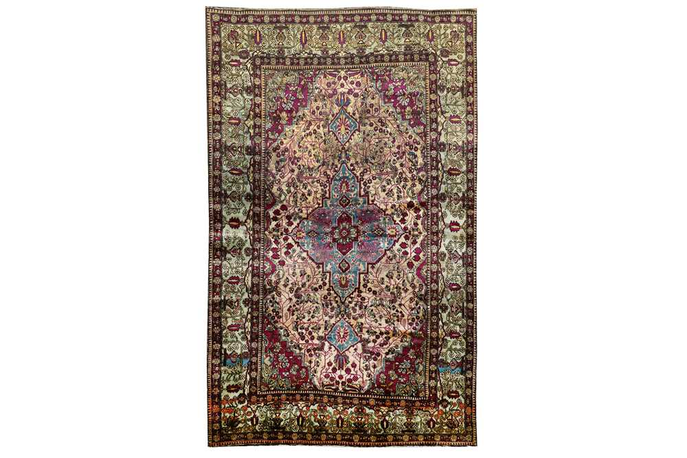 A very fine antique silk feraghan rug, west Persia