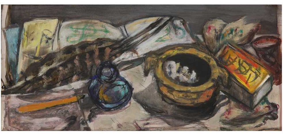 Still-life with inkpot, ashtray and matches