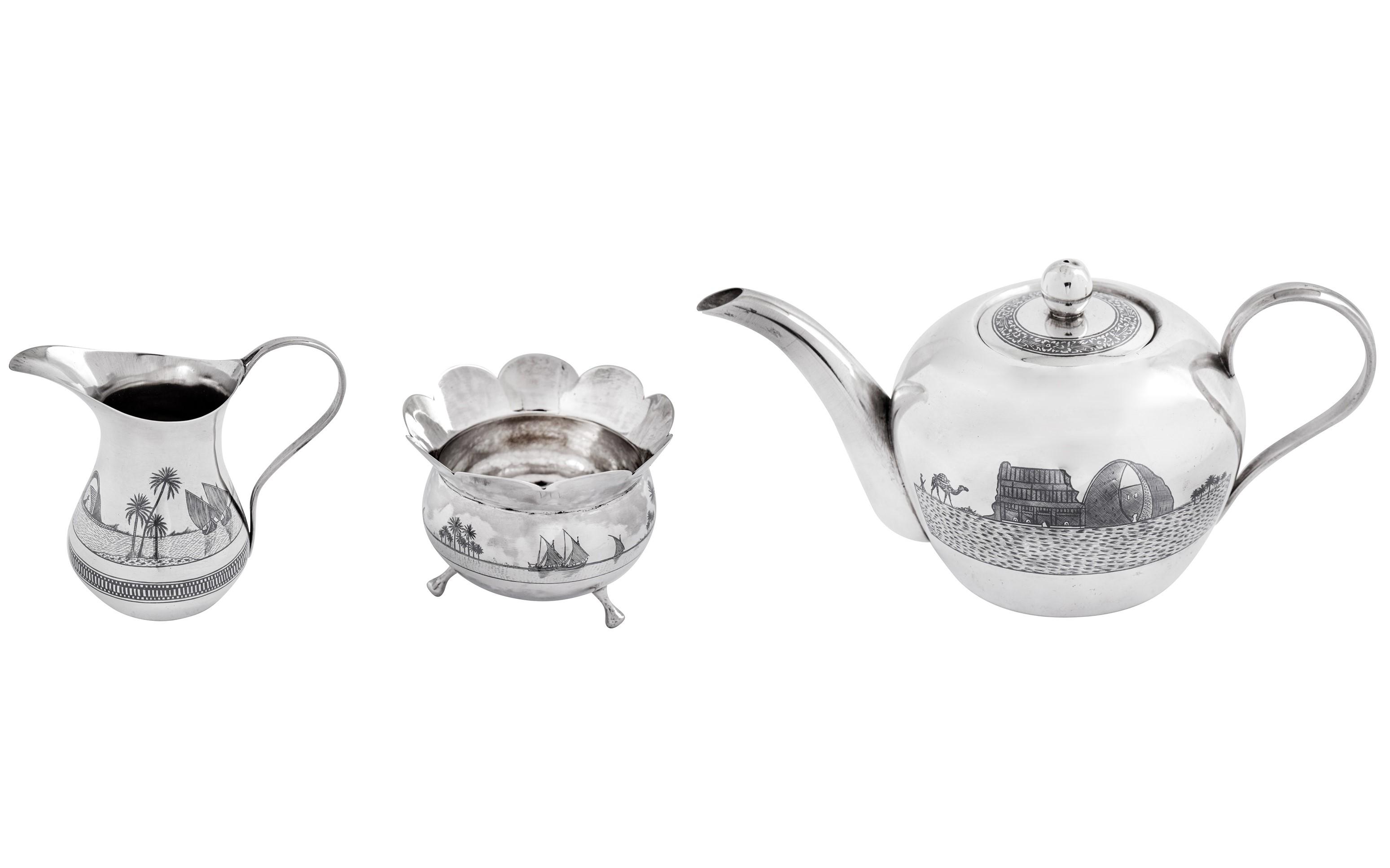 Iraqi silver and niello tea set