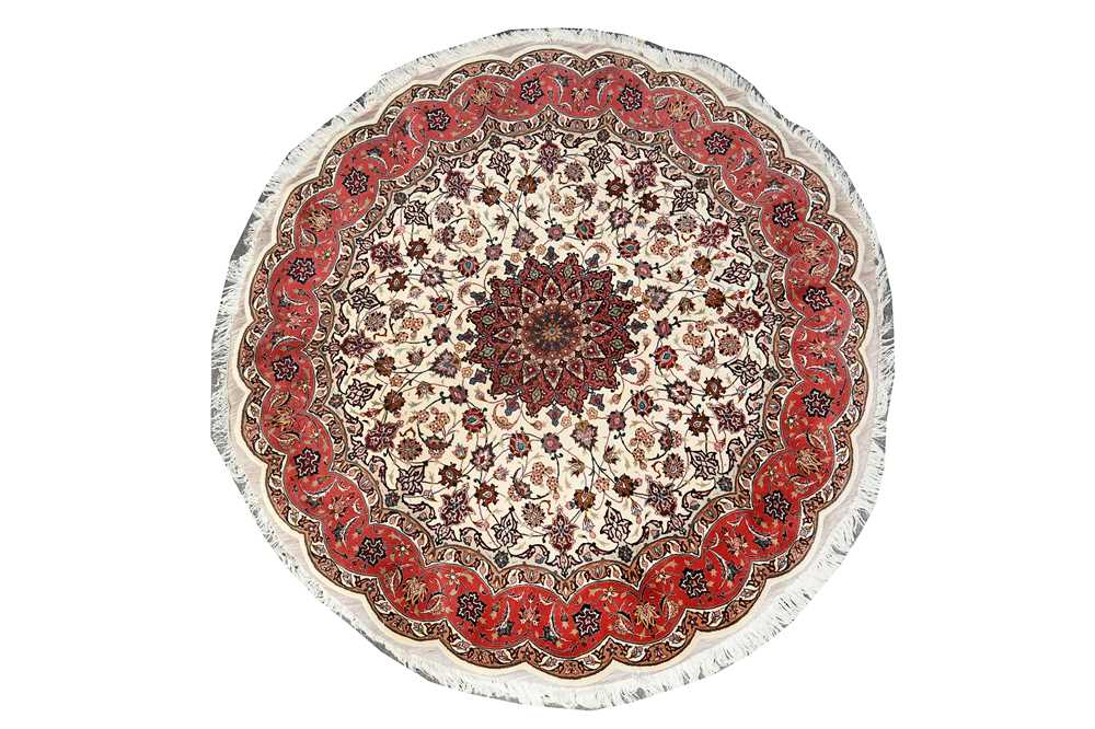 A very fine part silk tabriz circular large rug, North-West Persia