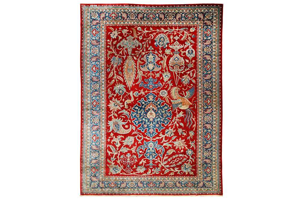 A very fine signed silk Hereke rug, Turkey