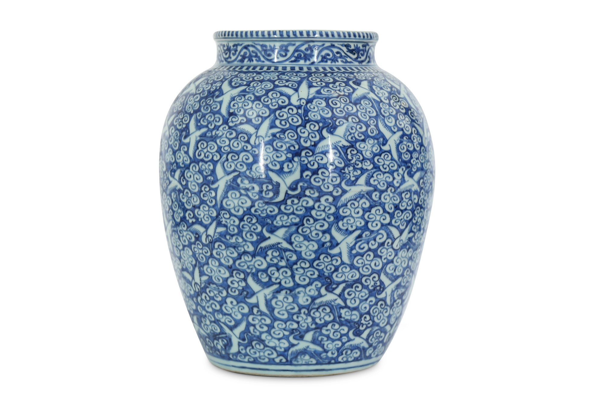A Chinese blue and white reverse-decorated 'hundred crane' jar. Ming Dynasty