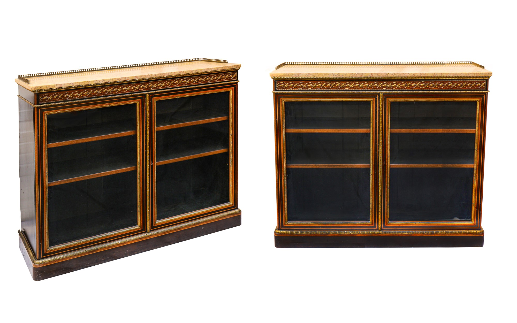Walnut and gilt 19th century cabinets