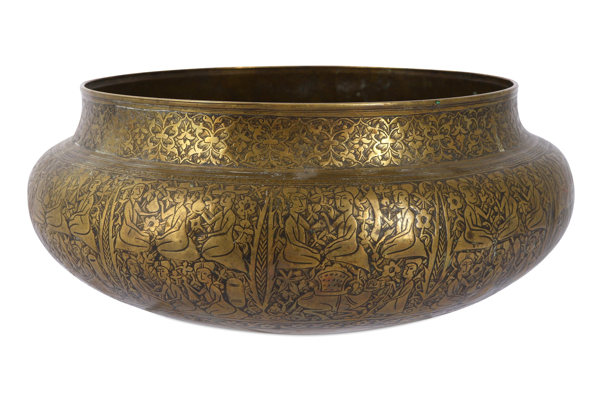 A large Safavid brass bowl with Armenian inscription