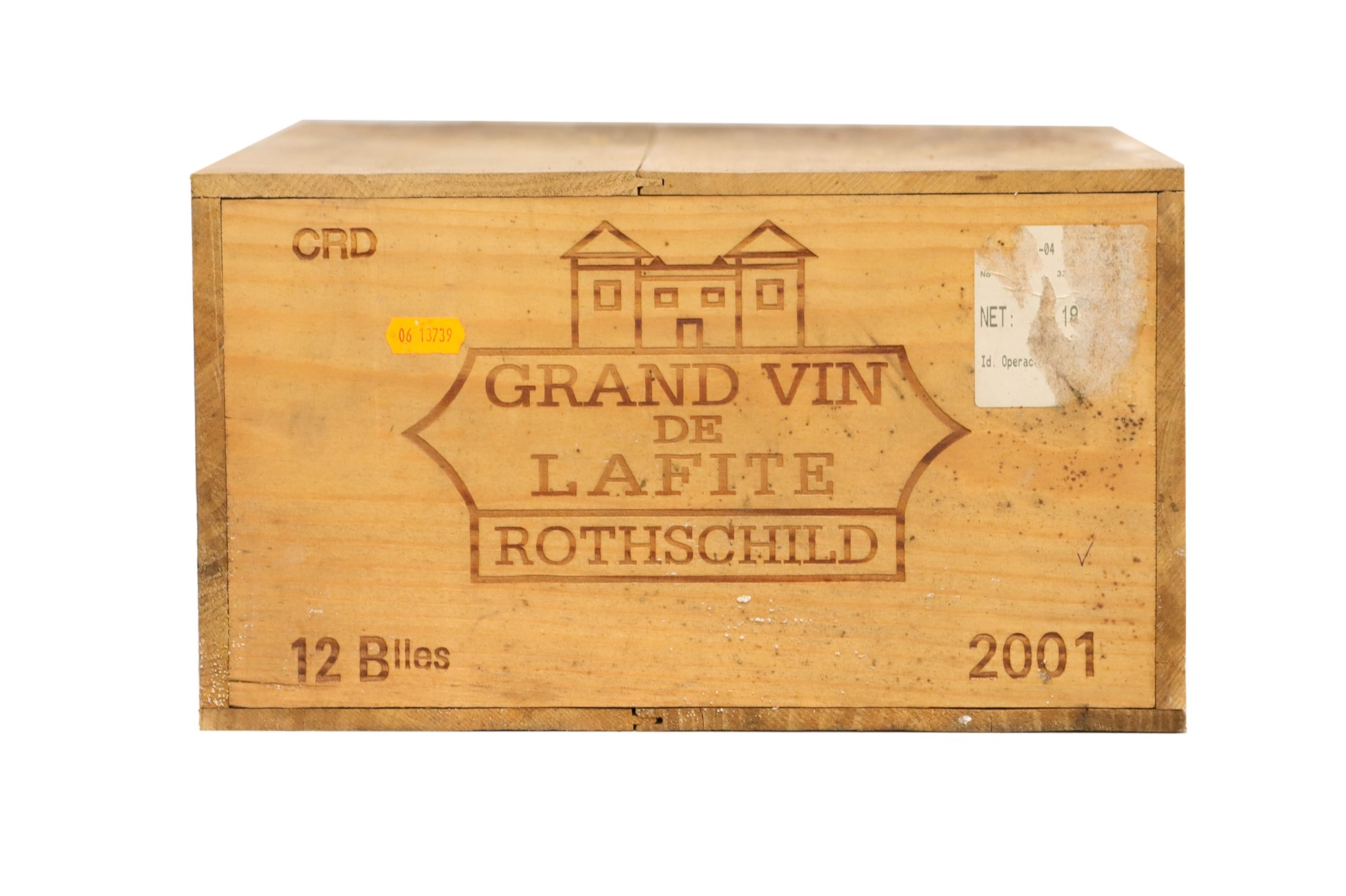 Twelve bottles of Chateau Lafite-Rothschild 2001 in open original wooden Cas.Pauillac,