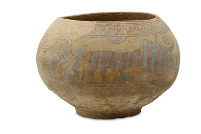 Lot 36 - A LARGE INDUS VALLEY MEHRGARH POLYCHROME BOWL...