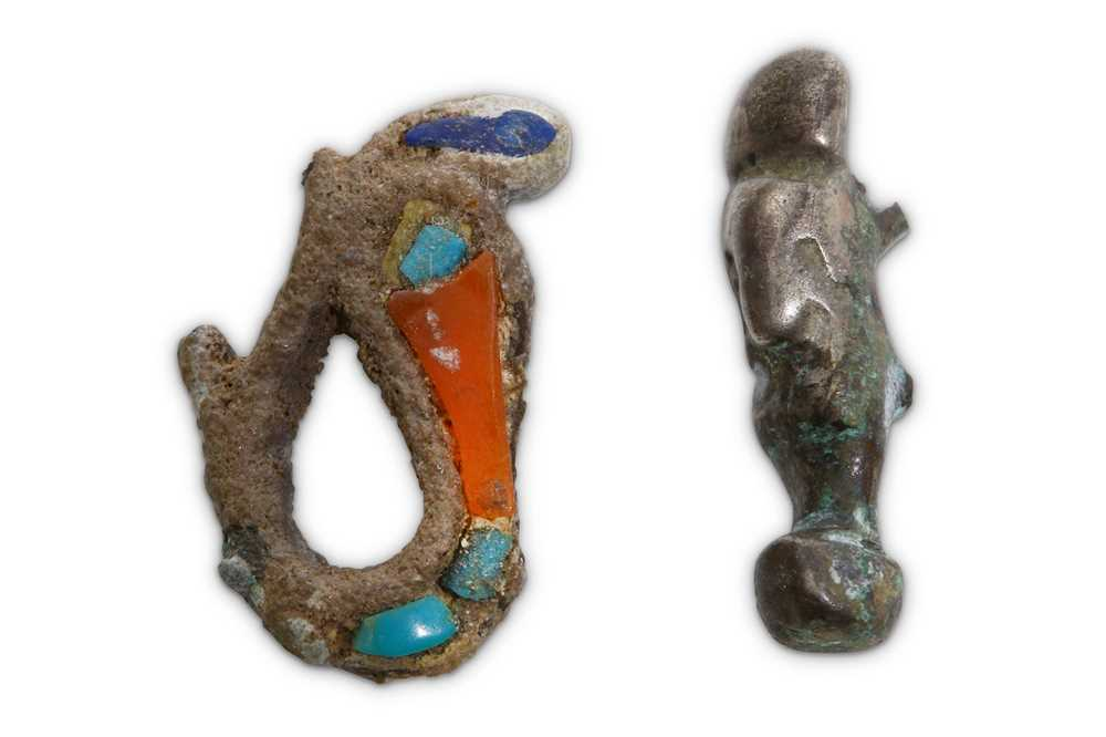 Lot 16 - TWO EGYPTIAN SILVER AMULETS Circa 1st...