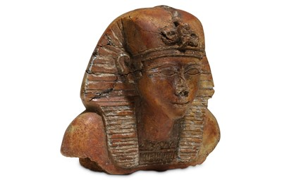 Lot 33 - AN AFTER THE ANTIQUE STONE BUST OF A PHARAOH...