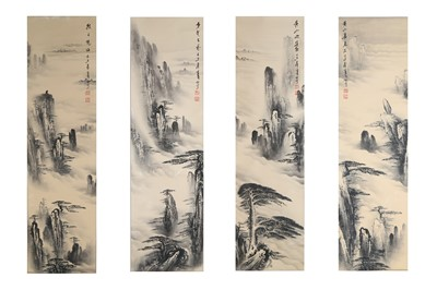 Lot 94-FOUR CHINESE INK LANDSCAPE HANGING SCROLLS 110 x...