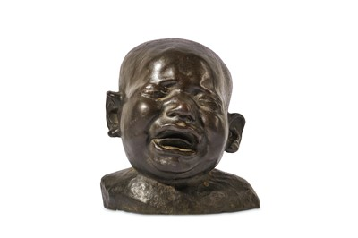 Lot 26-A LATE 19TH CENTURY BRONZE HEAD OF A CRYING CHILD IN THE MANNER OF FRANZ XAVER MESSERSCHMIDT