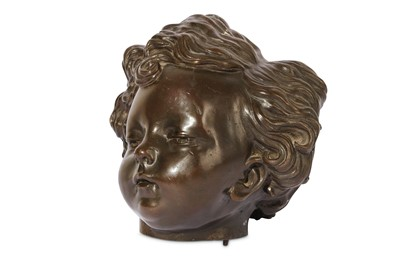 Lot 27-A LATE 18TH CENTURY BRONZE MODEL OF A CHILD'S HEAD IN THE MANNER OF JEAN-BAPTISTE PIGALLE