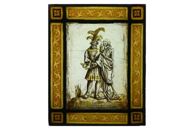Lot 8-A LATE 16TH / EARLY 17TH CENTURY CENTURY MOMENTO MORI STAINED GLASS PANEL, PROBABLY SWISS