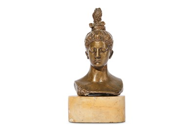 Lot 30-AN EARLY 20TH CENTURY SPANISH BRONZE BUST OF A WOMAN
