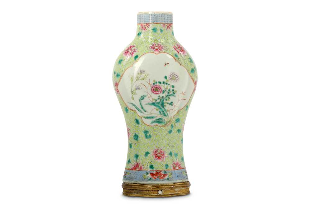 Lot 24-A CHINESE FAMILLE ROSE BALUSTER VASE.