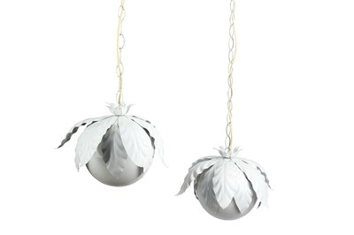 Lot 16-UNKNOWN: A pair of ceiling pendant lights,...