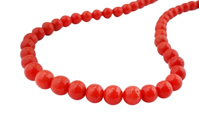 Lot 48-λ Two coral bead necklaces