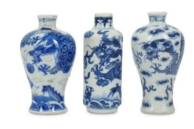 Lot 14-THREE CHINESE BLUE AND WHITE MINIATURE 'DRAGON' VASES.